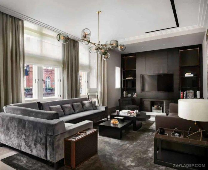 40 Ý tưởng trang trí phòng khách nhà tông màu trắng xám, xám tro phong khach nha tong mau trang xam 33