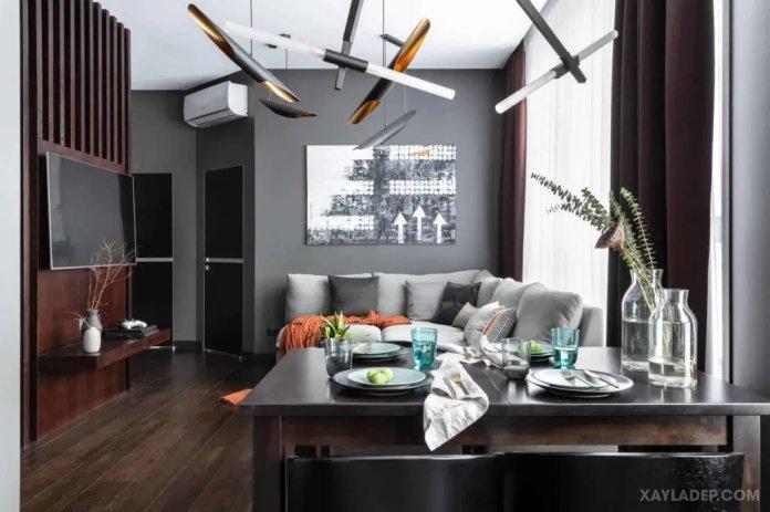 40 Ý tưởng trang trí phòng khách nhà tông màu trắng xám, xám tro phong khach nha tong mau trang xam 35
