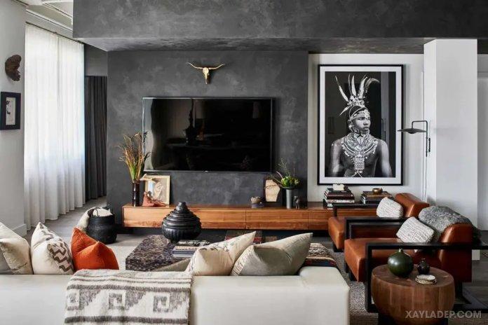 40 Ý tưởng trang trí phòng khách nhà tông màu trắng xám, xám tro phong khach nha tong mau trang xam 36
