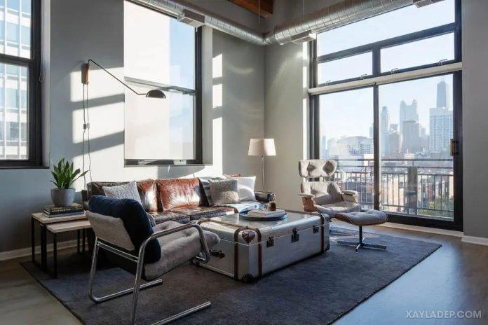 40 Ý tưởng trang trí phòng khách nhà tông màu trắng xám, xám tro phong khach nha tong mau trang xam 37