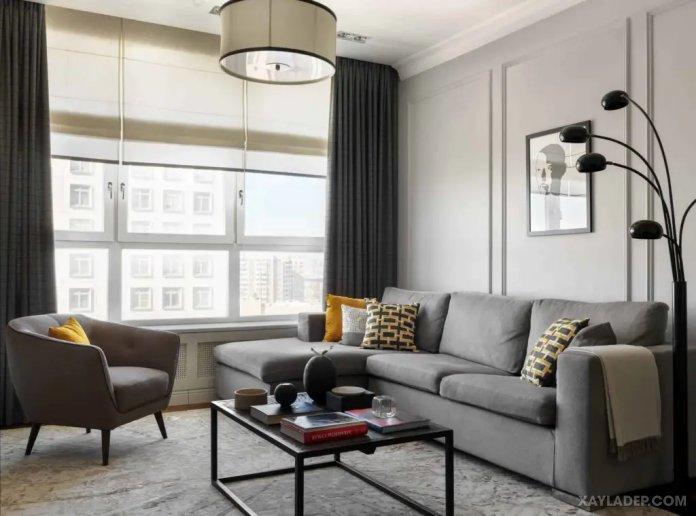 40 Ý tưởng trang trí phòng khách nhà tông màu trắng xám, xám tro phong khach nha tong mau trang xam 40