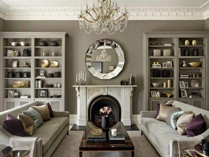 40 Ý tưởng trang trí phòng khách nhà tông màu trắng xám, xám tro phong khach nha tong mau trang xam 41
