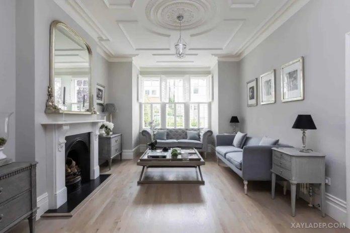 40 Ý tưởng trang trí phòng khách nhà tông màu trắng xám, xám tro phong khach nha tong mau trang xam 42