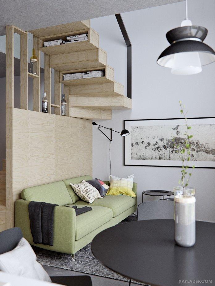 4 Mẫu thiết kế căn hộ chung cư 50m2 thông minh tiện dụng thiet ke can ho chung cu 50m2 2