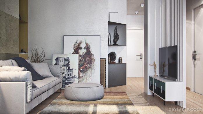 4 Mẫu thiết kế căn hộ chung cư 50m2 thông minh tiện dụng thiet ke chung cu mini 50m2 2