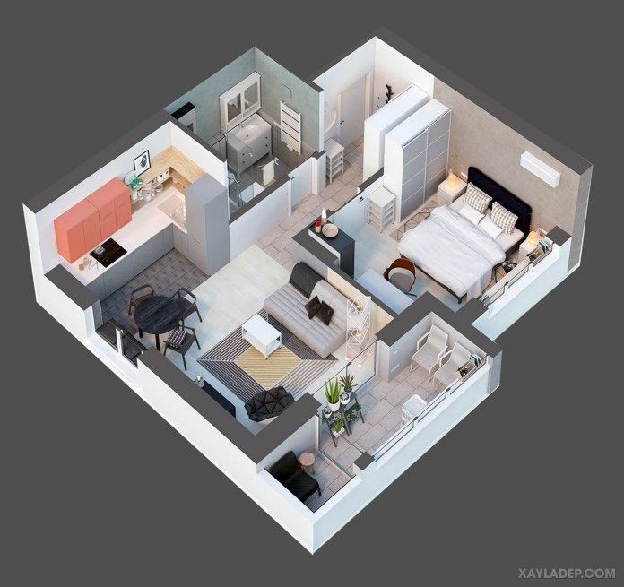 4 Mẫu thiết kế căn hộ chung cư 50m2 thông minh tiện dụng thiet ke noi that chung cu 50m2 10