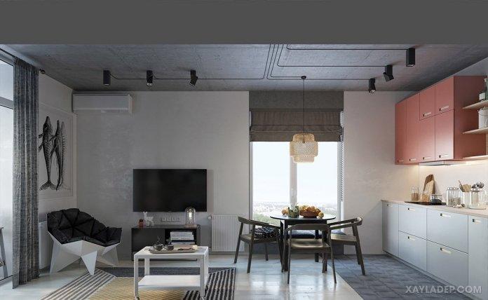 4 Mẫu thiết kế căn hộ chung cư 50m2 thông minh tiện dụng thiet ke noi that chung cu 50m2 2
