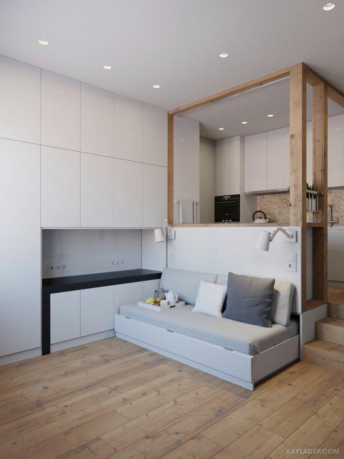 4 Mẫu thiết kế căn hộ chung cư 50m2 thông minh tiện dụng thiet ke noi that chung cu nho 40m2 2