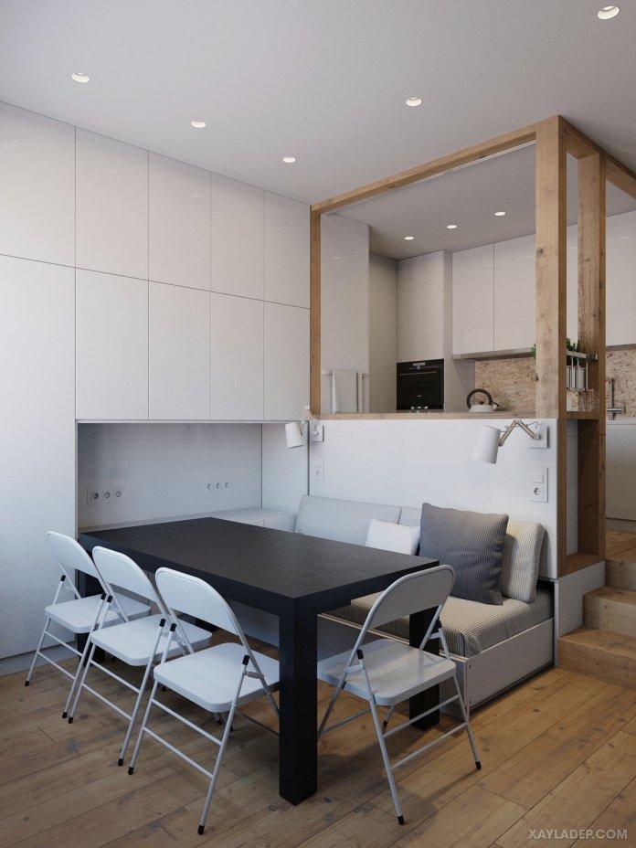 4 Mẫu thiết kế căn hộ chung cư 50m2 thông minh tiện dụng thiet ke noi that chung cu nho 40m2 3