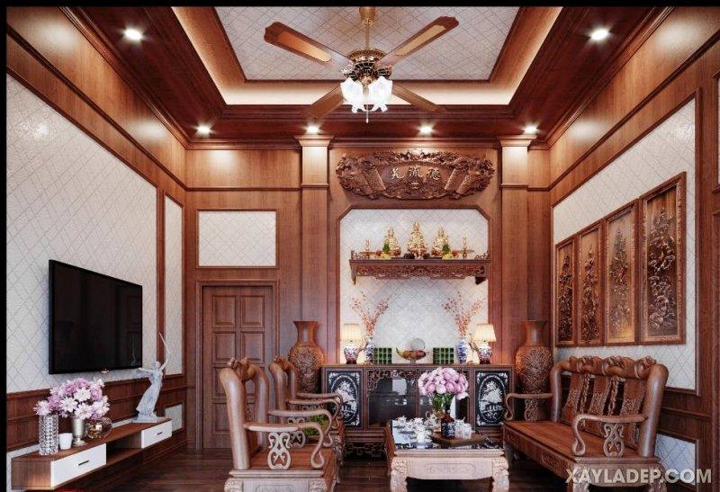 30   Một phòng khách sang trọng với tấm ốp tường và trần bằng tấm nhựa vân gỗ