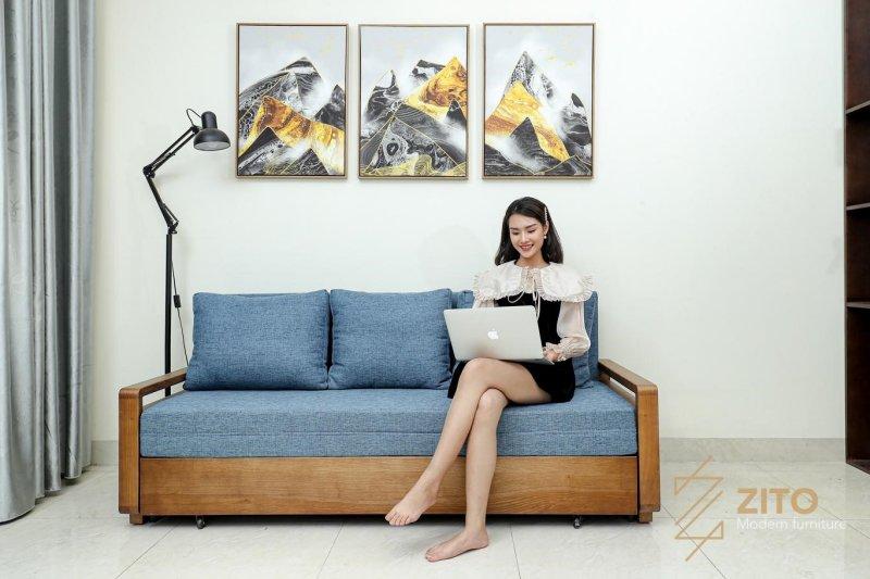 Sở hữu chiếc sofa gỗ tiếp khách lịch sự