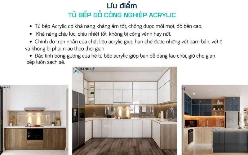 Tủ bếp acrylic có khả năng kháng ẩm tốt, chống được mối mọt, cong vênh