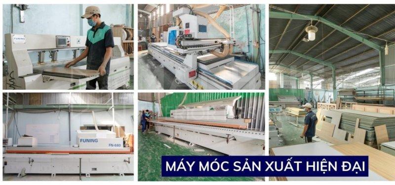 Xưởng sản xuất nội thất Mạnh Hệ được trang bị máy móc hiện đại